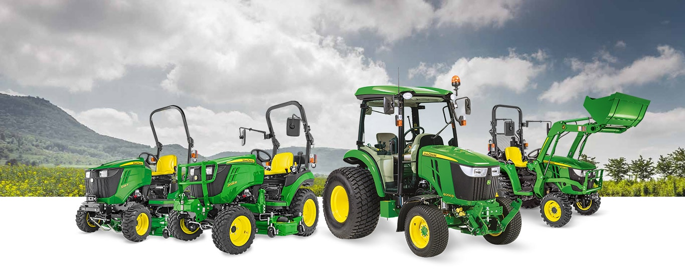 Landscape with group compact utility tractors
