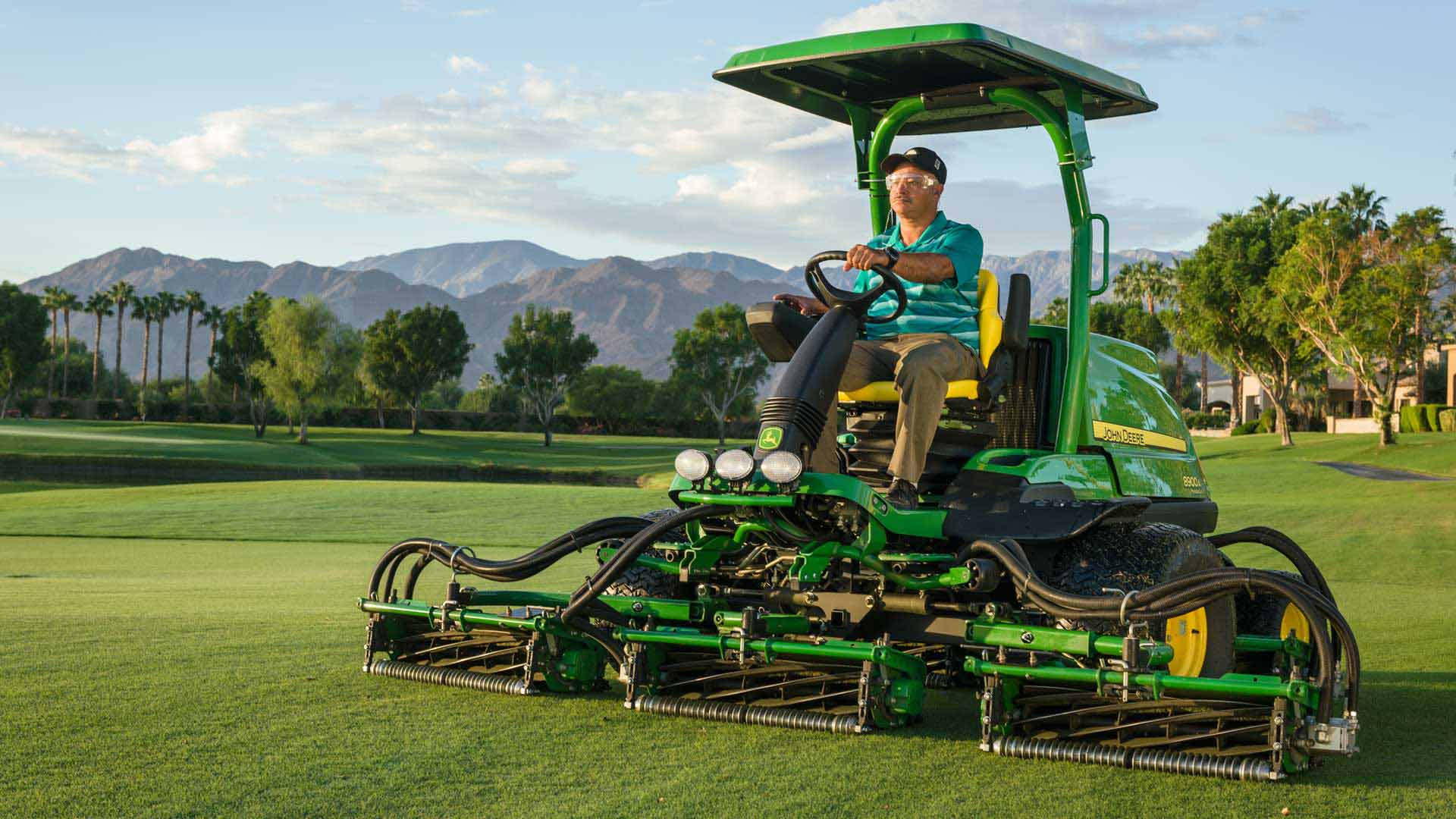 image of fairway mower on golf course